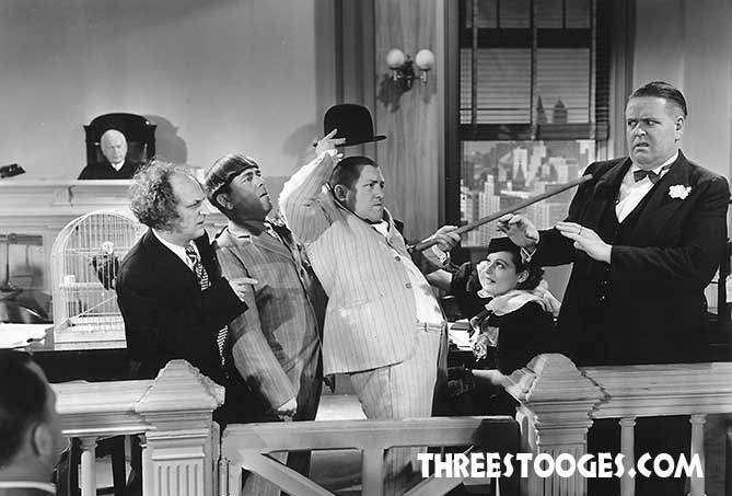 The Three Stooges with Edward LeSaint, Bud Jamison and Susan Kaaren in Disorder In The Court